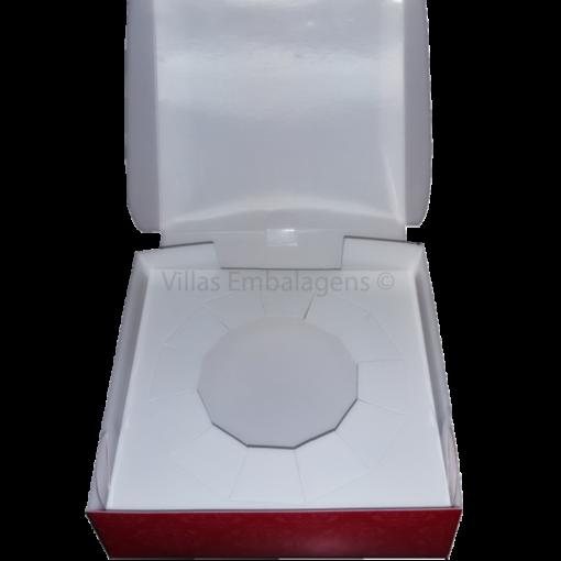 Embalagem para batata suíça delivery caixa box descartável quadrada vermelha