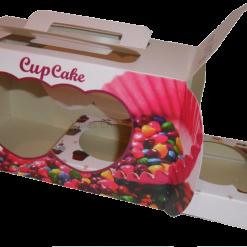 Embalagem para Cupcake com berços doces caixa box descartável 02 unidades Pacote com 50 unidades